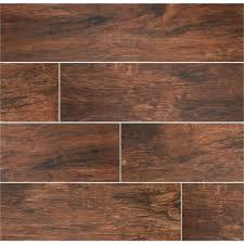 Home Depot Wood Look Tile by Ms International Redwood Mahogany 6 In X 24 In Glazed Porcelain