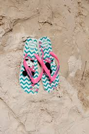 Pink Green And White Chevron Flip Flops