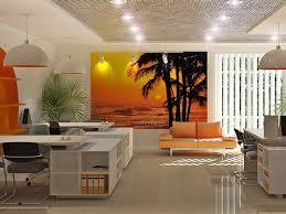 Office Interior Design Idea Travel Agency Orange Tables