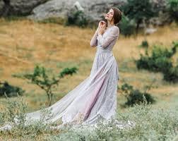 Long Sleeve Wedding Dress Vintage Gray Grey Winter