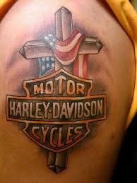 Beautiful Cross Harley Davidson Bike Logo Tattoo On Left Shoulder