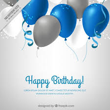 Background with blue and silver balloons Free Vector