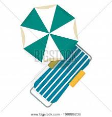 Bright Beach Umbrellas And Chaise Lounges Top View On White Background Vacation Sand Ocean Or Sea Near Pool In Hotel