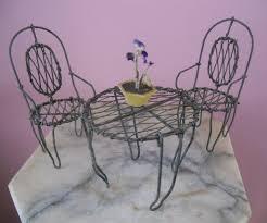 Antique Wire Metal Miniature Dollhouse Garden Furniture Patio Set