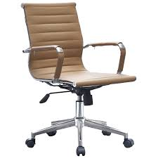 2xhome Office Chair Mid Back Tan Ergonomic Adjustable Height Swivel With  Padded Arms Wheels Work Executive Task