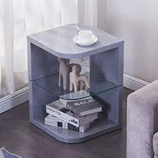 goldfan beistelltisch rund holz moderner hochglanz klein couchtisch nachttisch für wohnzimmer schlafzimmer grau