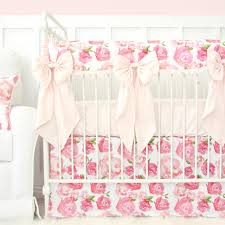 Pink Crib Bedding by Harlow U0027s Watercolor Rose Bumperless Crib Bedding Caden Lane