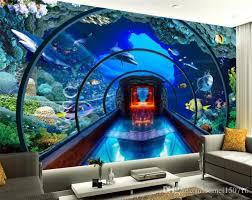 großhandel benutzerdefinierte 3d wallpaper unterwasserwelt aquarium 3d stereo tv wandbilder hintergrund wohnzimmer wandtapete für wände 3 d