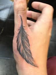 A Feather Hand Tattoo