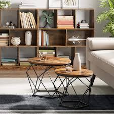couchtisch wohnzimmertisch 2er set industrial design rund metall holz vintagebraun schwarz