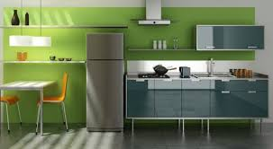 Dark Green Accent Wall Paint For Grey Kitchen Decoration