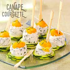 recette canape canapés de courgettes et chèvre émulsion de carottes recette