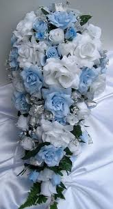Light Blue Silver Silk Wedding Flowers