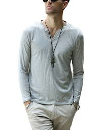 mens soft henley t shirts long sleeve v neck solid button placket