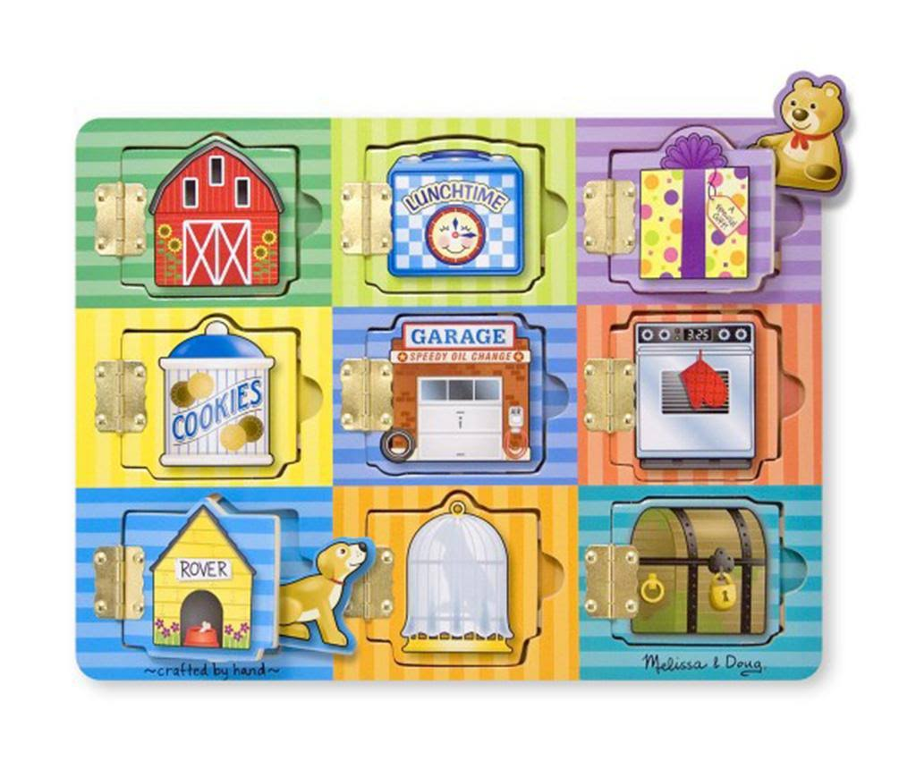 Melissa & Doug Hide and Seek Wooden Activity Board with Wooden Magnets, Multicolor