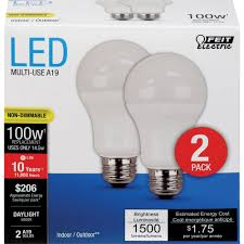 led a19 15 watts 100w equiv 2 pack 1500 lumens feit electric