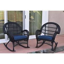 Santa Maria Black Wicker Rocker Chair With Midnight Blue Cushion ... Wicker Rocking Chair Grey At Home Windsor Black Rocker And End Table Set With Patio Resin Steel Frame Outdoor Porch Noble House Harmony With White 3pc Cushion Good Looking Glider Big Plans Sw Chairs Lounge Dark Brown Amazoncom Cloud Mountain 3 Piece Bistro Decorating Rockers Gliders Coral Coast Casco Bay