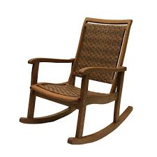 Outdoor Interiors Brown Wicker And Eucalyptus Outdoor Rocking Chair ...