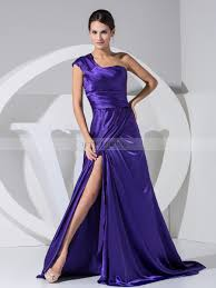elastic satin one shoulder evening dress with chapel train and slit