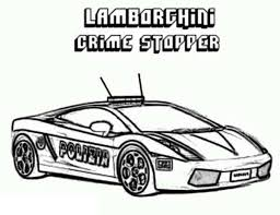 Police Car Lamborghini Crime Stopper Coloring Page