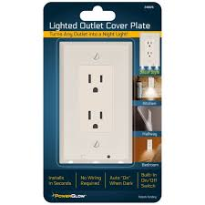 powerglow wall outlet plate 3 led light on switch white