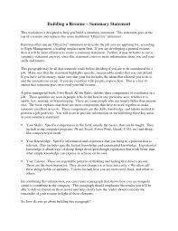 Resume Summary Statement Examples Resumes Wonderful Samples Also In Sample Example Of Statements Full