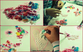 Wet Tissue And Glue Heart Art Collage For Kids Valentines