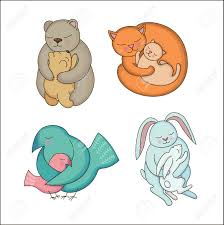 Set Of Hand Drawn Baby And Mommy Animals Isolated On White Mothers Hugs Cute