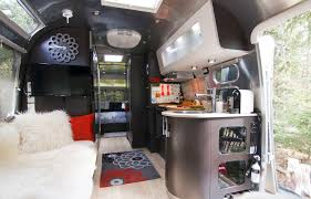 Inside An Airstream Travel Trailer Modern Interiors Decorating A