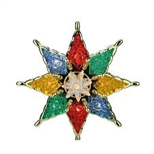 775 Lighted Multi Color Mosaic Star Christmas Tree Topper
