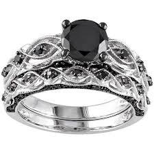 10k White Gold 1 3 8 Carat T W Black Diamond Swirl Engagement Ring