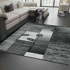 wohnzimmer teppich grau schwarz creme mit pflanzen muster ebay