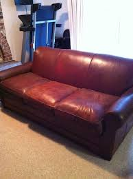 Amanda s 21$ leather sofa after the dye job at The Crandall Family