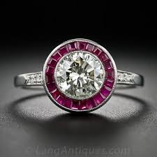 deco ruby and ring 1 08 carat and ruby deco style engagement ring