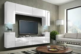 details zu wohnwand future 1 anbauwand möbel schrank wohnzimmer led hochglanz weiß schwarz