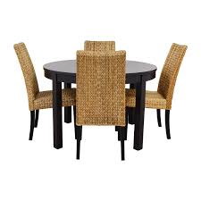 66% OFF - Round Black Dining Table Set With Four Chairs / Tables