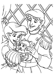 Ariel Little Mermaid Coloring Pages Family Prince And