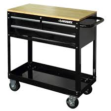 Husky 36 In. 3-Drawer Rolling Tool Cart With Wood Top, Black ...