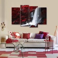 Red Autumn Waterfall Multi Panel Canvas Wall Art In 2019 Products