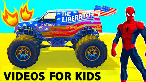 100 Spiderman Monster Truck Policeman And MONSTER TRUCK In Cars Cartoon For Kids W