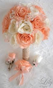 17 Piece Package Silk Flowers Wedding Bouquet Artificial Bridal Bouquets Decoration PEACH IVORY BURLAP Lace Rustic Lily Of Angeles IVPE01