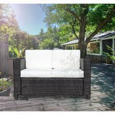 canapé de jardin 2 places fauteuil canape salon de jardin resine rotin tresse brun 2 places 48