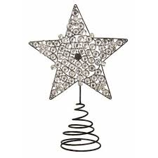 925 Clear Jeweled Star Christmas Tree Topper