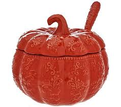 Pumpkin Soup Tureen And Bowls by Temp Tations Floral Lace 4 Qt Embossed Pumpkin Tureen W Ladle