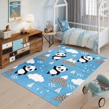 jolly teppich kurzflor kinderzimmer jugendzimmer schlafzimmer spielmatte blau grau panda design