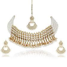 100 Pearl Design Shining Diva Fashion Latest Gold Plated Kundan Choker Necklace Jewellery Set For Women