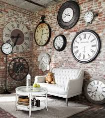 Ideas Wall Decor Design With Big And Small Clock Living Room