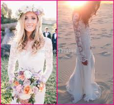 long lace sleeve wedding dress with stunning low back and chiffon