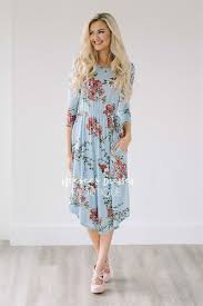 light blue spring floral pocket modest dress best online modest