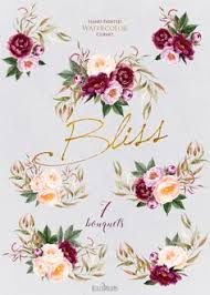Peonies Flowers Watercolor Floral Elements Burgundy Violet